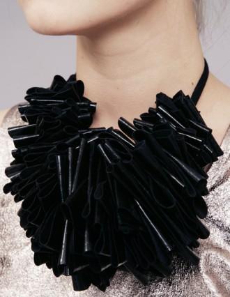 Leather ruffle scarf