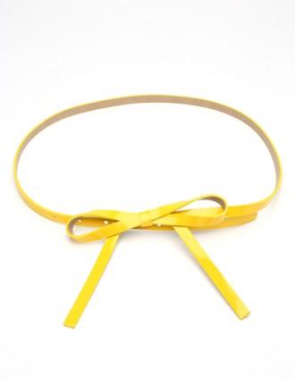 Yellow skinny bow belt