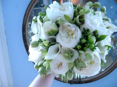 Nicolette camille wedding flowers peonies helebores hypericum callas