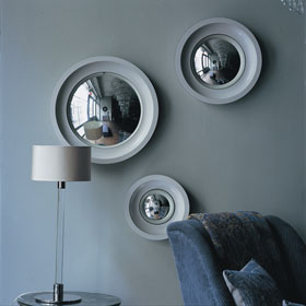 Convex round glass miror with wood frame