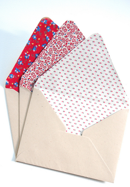 Fabric-lined envelopes