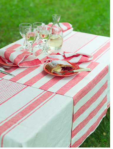 Striped raspberry linen runner