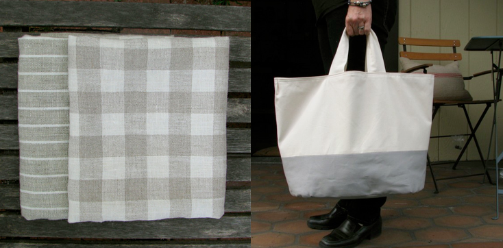 Linen towels and canvas tote