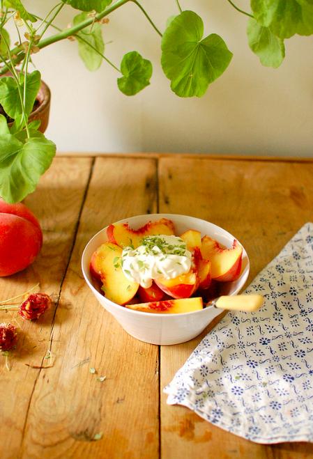 Peaches creme fraiche and thyme