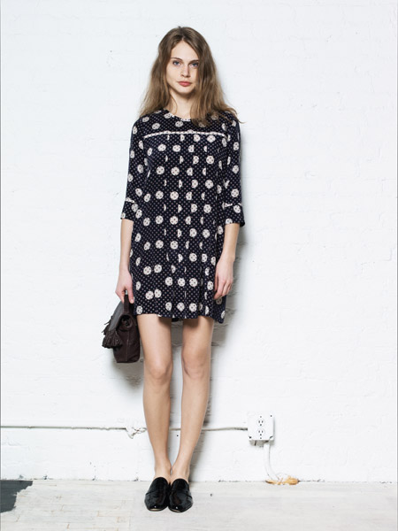 navy dress dots