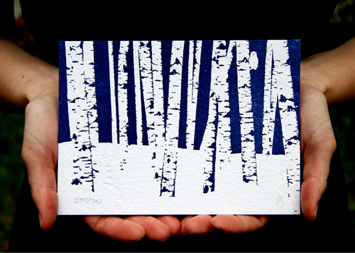 Birch trees letterpress