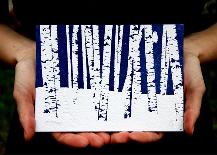 Birch trees letterpress