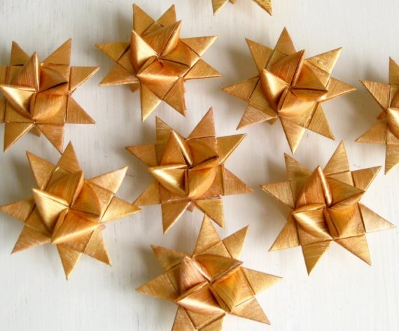 Gold origami stars