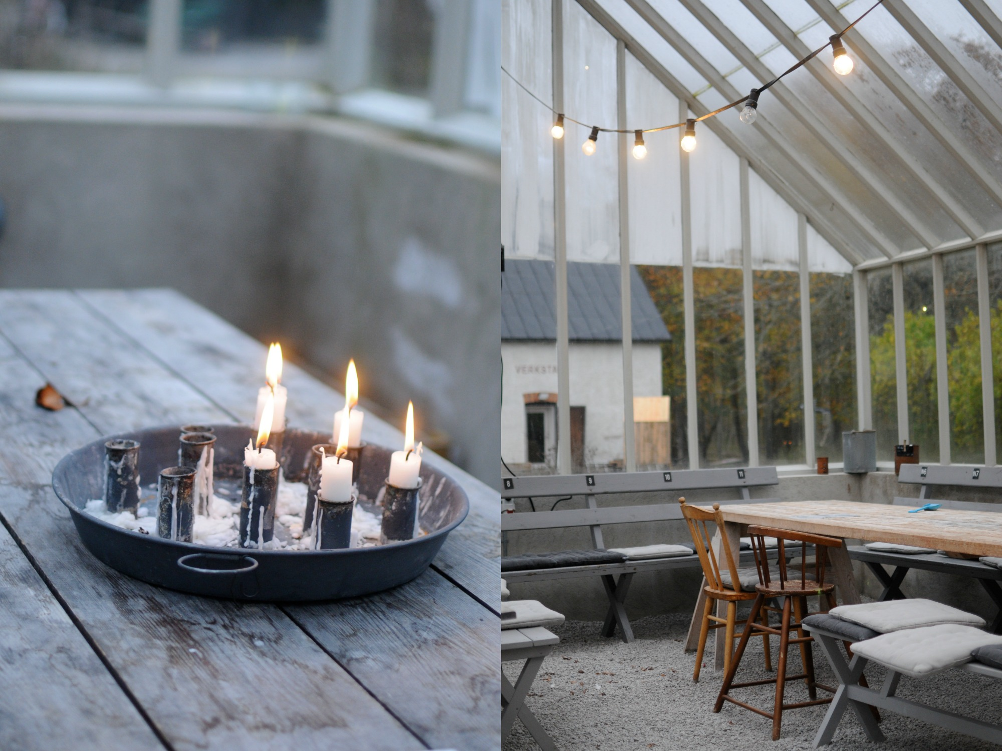 greenhouse dining candles