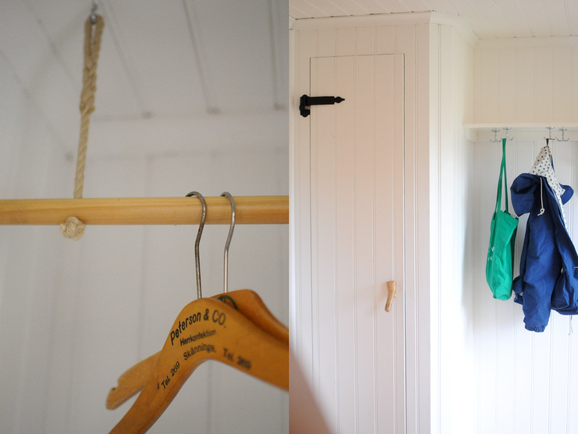swedish cottage rope hanger closet vintage hangers