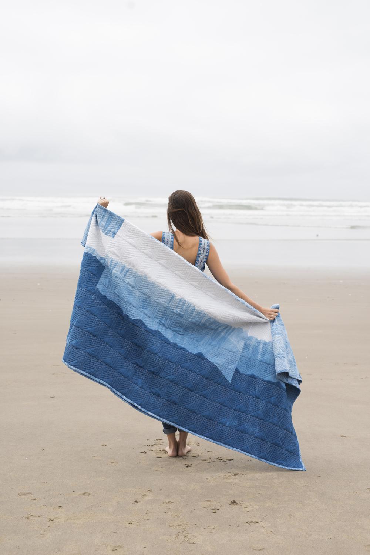 indigo quilt girl beach
