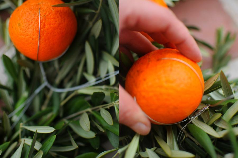 add fruit to wreaths