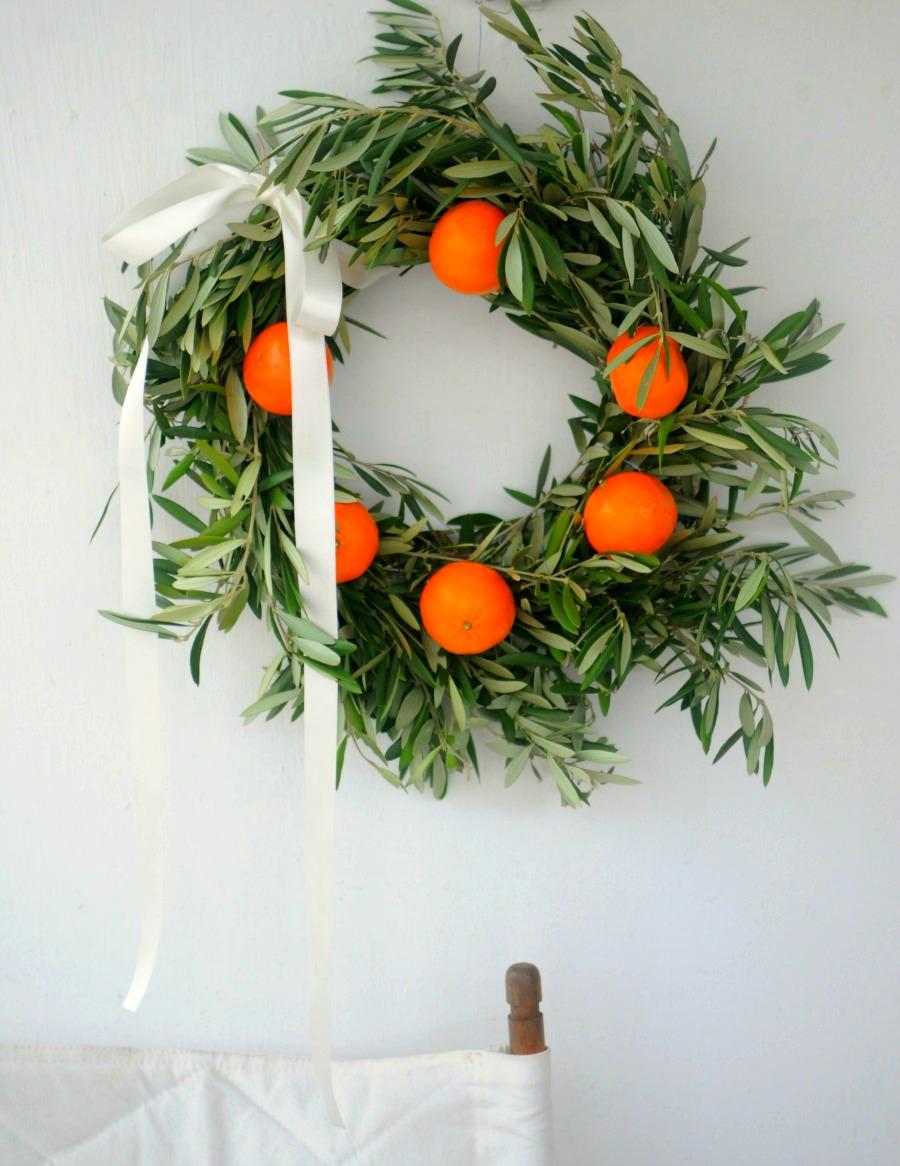 orange and olive christmas wreath