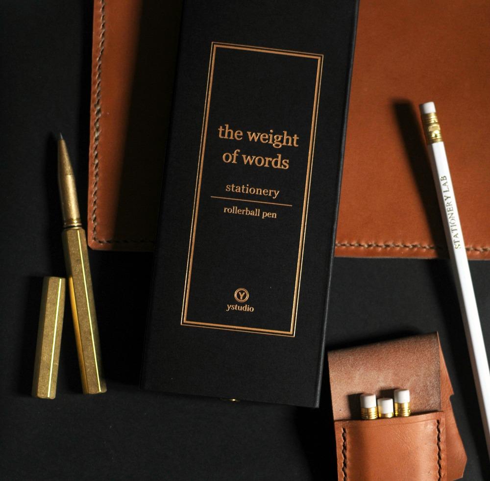 brass pen desk leather accessories
